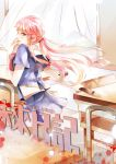 1girl gasai_yuno knife long_hair mirai_nikki pink_eyes pink_hair red_eyes school_uniform solo twintails wazxtsky