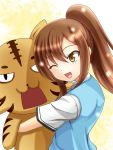 :3 ;d alice360 aoyama_nanami blush brown_eyes brown_hair doll_hug long_hair open_mouth ponytail sakura-sou_no_pet_na_kanojo smile solo stuffed_animal stuffed_toy tiger wink