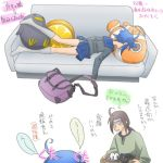 1boy 1girl ahoge bird brown_hair couch cousins fish food fruit hyuuga_hinata hyuuga_neji lowres lying naruto on_stomach orange penguin pillow ponytail sigekitti sweatdrop translation_request