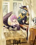 3girls bed black_legwear black_panties black_wings blush book brown_hair camisole chair curtains green_eyes green_hair hairband hat hat_ribbon heart highres komeiji_koishi komeiji_satori long_hair long_sleeves lu_hao_liang lying midriff multiple_girls open_mouth panties pink_eyes pink_hair reiuji_utsuho ribbon short_hair silver_hair skirt sleeping smile table thighhighs third_eye touhou underwear window wings