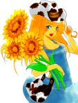 bag blonde_hair blue_eyes breasts cleavage cow_print cowboy_hat flower harvest_moon:_a_new_beginning hat long_hair naked_overalls open_mouth overall_skirt overalls popousagi purse rio_(harvest_moon) sideboob solo sunflower