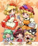 5girls :< ;p aki_minoriko aki_shizuha ascot blonde_hair blush bow braid breasts brown_hair cake candy chocolate chopsticks cooking dessert detached_sleeves dish dress eating food fork frog_hair_ornament fruit grapes green_hair hair_bow hair_ornament hair_tubes hakurei_reimu hat heart kirisame_marisa kochiya_sanae leaf long_hair long_sleeves maid maid_headdress maple_leaf multiple_girls open_mouth pastry pot pudding red_eyes ribbon short_hair siblings single_braid sisters skirt smile snake_hair_ornament tongue touhou whisk wink witch_hat yellow_eyes zipang