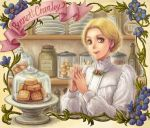 1girl bennett_cranley blonde_hair braid character_name cookie dome ear_studs earrings flower food french_braid green_eyes hair_bun hair_up interlocked_fingers jewelry lips lipstick makeup satou_toshio_(suisuisuisui) shirley shirt shop short_hair smile solo