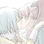 2girls blue_hair kiss long_hair mahou_shoujo_madoka_magica miki_sayaka misu_kasumi multiple_girls mutual_yuri red_hair redhead sakura_kyouko school_uniform short_hair simple_background white_background yuri