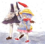 2girls apron bag bat_print bat_wings blue_dress blue_hair blush brown_gloves child dress footprints gloves hand_holding hat holding_hands izayoi_sakuya jacket kindergarten_uniform long_sleeves maid maru_usagi mary_janes multiple_girls pantyhose remilia_scarlet scarf school_hat shoes shoulder_bag skirt smile snow snowing touhou waist_apron walking white_legwear wings winter winter_clothes