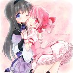 2girls akemi_homura black_hair blue_eyes gloves hair_ribbon hairband interlocked_fingers kaname_madoka ko_ru_ri long_hair looking_at_viewer magical_girl mahou_shoujo_madoka_magica multiple_girls pink_eyes pink_hair ribbon short_hair skirt smile twintails watermark web_address wink