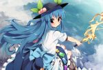 1girl blue_hair blush bow food fruit hat hinanawi_tenshi keystone long_hair looking_at_viewer peach red_eyes shide shimenawa sitting smile solo sword_of_hisou takashiru touhou