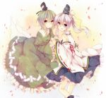 2girls blue_eyes detached_sleeves dress ghost_tail green_dress green_hair hand_holding hat holding_hands japanese_clothes long_sleeves mi-chan mononobe_no_futo multiple_girls open_mouth petals ponytail short_hair silver_hair smile soga_no_tojiko tate_eboshi touhou yellow_eyes