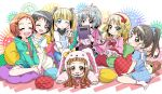;d ;o ^_^ animal_costume animal_ears aqua_eyes black_eyes black_hair blonde_hair blush book bow brown_eyes brown_hair bunny_costume child closed_eyes dress emu_(toran) fukuyama_mai green_eyes grey_hair hair_bow hair_ornament hairband hairclip highres ichihara_nina idolmaster idolmaster_cinderella_girls lolita_fashion lolita_hairband long_hair looking_at_viewer mary_cochran multiple_girls narumiya_yume open_mouth pillow polka_dot polka_dot_dress ponytail ryuuzaki_kaoru sakurai_momoka sasaki_chie sheep_costume short_hair smile twintails wink yellow_eyes young
