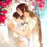 2boys axis_powers_hetalia black_hair brown_hair flower georges_meunier greece_(hetalia) japan_(hetalia) male military military_uniform multiple_boys open_mouth uniform yaoi