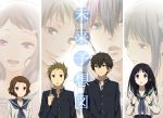 2boys 2girls chitanda_eru fukube_satoshi hyouka ibara_mayaka long_hair multiple_boys multiple_girls oreki_houtarou rito453 school_uniform serafuku short_hair translated
