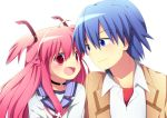 1boy 1girl :d angel_beats! bikini blue_hair eye_contact fang hinata_(angel_beats!) long_hair looking_at_another open_mouth pink_hair purple_eyes red_eyes school_uniform serafuku short_hair smile soranagi swimsuit twintails two_side_up violet_eyes yui_(angel_beats!)