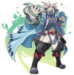 1boy belt hexagram kyousaku male monster_boy mygrimoire oriax_(mygrimoire) original overcoat red_eyes silver_hair snake solo whiskers