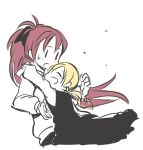 2girls blonde_hair blush closed_eyes eyes_closed hug long_hair mahou_shoujo_madoka_magica mukiki multiple_girls open_mouth red_hair redhead sakura_kyouko simple_background smile tomoe_mami very_long_hair white_background yuri