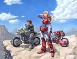 1boy 1girl 80s armor blonde_hair blue_eyes brown_hair cliff cloud couple desert good_end gsxr750sp helmet highres houquet_et_rose kikou_souseiki_mospeada long_hair mecha mesa mospeada mospeada_(mecha) motor_vehicle motorcycle oldschool power_armor power_suit ray_(mospeada) realistic ride_armor science_fiction sky vehicle