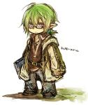 1boy book final_fantasy final_fantasy_xi fujiwara_akina glasses green_hair pointy_ears purple_eyes short_hair simple_background solo tarutaru violet_eyes