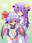 2girls alternate_costume apron bat_wings blush crescent embarrassed enmaided fang hair_ribbon hat kurogarasu long_hair maid maid_headdress multiple_girls patchouli_knowledge purple_eyes purple_hair red_eyes remilia_scarlet ribbon short_hair skirt smile tears thigh-highs thighhighs touhou tray violet_eyes white_legwear wings wink wrist_cuffs
