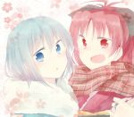 2girls :d :o blue_eyes blue_hair bow hair_bow japanese_clothes jewelry kimono long_hair mahou_shoujo_madoka_magica miki_sayaka mizuki_(flowerlanguage) multiple_girls open_mouth ponytail red_eyes red_hair redhead ring sakura_kyouko scarf short_hair smile