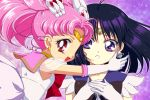2girls bishoujo_senshi_sailor_moon black_hair chibi_usa d_(pixiv544157) double_bun earrings elbow_gloves gloves gradient gradient_background hair_ornament hairpin jewelry magical_girl multiple_girls pink_background pink_hair purple_background purple_eyes red_eyes sailor_chibi_moon sailor_collar sailor_saturn short_hair smile super_sailor_chibi_moon tiara tomoe_hotaru twintails violet_eyes white_gloves