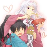 2girls black_hair bowl chopsticks eating fang food ganaha_hibiki hairband idolmaster japanese_clothes kimono long_hair multiple_girls myonde noodles open_mouth ponytail purple_eyes ramen shijou_takane silver_hair violet_eyes