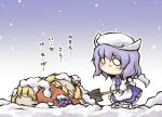 3girls aki_minoriko aki_shizuha blush burying chibi food fruit grapes hat letty_whiterock multiple_girls nekoguruma o_o purple_hair short_hair shovel snow touhou translated translation_request worktool