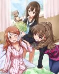 3girls ;d blush brown_eyes brown_hair chigusa flower green_eyes grin houjou_karen idolmaster idolmaster_cinderella_girls jeans kamiya_nao long_hair multiple_girls necktie open_mouth orange_hair pajamas red_eyes school_uniform shibuya_rin skirt smile stuffed_animal stuffed_toy teddy_bear wink