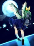 1girl :o alternate_wings blue_dress blue_eyes daiyousei dress flying green_hair looking_back migihidari_(puwako) moon moonlight puffy_short_sleeves puffy_sleeves short_dress short_sleeves sky socks solo star_(sky) starry_sky touhou white_legwear wings
