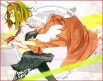 green_hair gumi haru_(oomr005) haruka_(haru) highres navel pantyhose school_uniform short_hair solo vocaloid