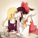 2girls ascot black_dress black_hair blonde_hair blush bow bowl braid chopsticks closed_eyes detached_sleeves dress eyes_closed food hair_bow hair_ribbon hair_tubes hakurei_reimu hand_on_chin highres hiroya_masaharu juliet_sleeves kirisame_marisa kiss long_hair long_sleeves multiple_girls ponytail puffy_sleeves ribbon shirt skirt skirt_set touhou wide_sleeves yuri