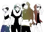4boys black_hair gold_(pokemon) hood jacket kouki_(pokemon) looking_at_viewer monochrome multiple_boys nocco pokemon pokemon_(game) pokemon_dppt pokemon_gsc pokemon_rgby pokemon_rse red_(pokemon) red_(pokemon)_(classic) tongue yuuki_(pokemon)