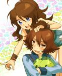 1boy 1girl blue_eyes brown_eyes brown_hair denim denim_shorts flower irouha jacket long_hair no_hat no_headwear open_mouth outstretched_arm pointing pokemon pokemon_(game) pokemon_bw ponytail short_hair shorts solosis touko_(pokemon) touya_(pokemon) wristband