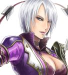 1girl blush breasts bust cleavage hair_over_one_eye isabella_valentine jacket lips lipstick makeup nyaasora purple_lipstick short_hair solo soul_calibur soulcalibur soulcalibur_v whip_sword white_hair