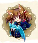 1girl animal_ears brown_hair cat_ears dragon fingerless_gloves gloves pina_(sao) red_eyes short_hair short_twintails silica silica_(sao-alo) sword_art_online tougo twintails