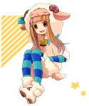 1008_(noble) animal_costume bell brown_hair cow_bell ichihara_nina idolmaster idolmaster_cinderella_girls long_hair sheep_costume solo star striped striped_legwear