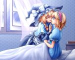 2girls alice_margatroid apron blonde_hair blue_eyes book braid closed_eyes crying curtains eyelashes eyes_closed finger_on_lips hat hat_ribbon headband kirisame_marisa long_sleeves multiple_girls nightgown nip_to_chip on_bed open_window parted_lips pillow profile ribbon shawl short_hair single_braid sitting snow snow_on_head streaming_tears tears touhou under_covers waist_apron wind witch_hat yuri