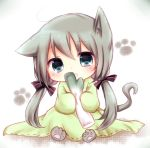 1girl animal_ears cat_ears cat_paws cat_tail chibi dress green_eyes green_hair hatsune_miku head_tilt long_hair misa_(kaeruhitode) open_mouth paws sitting sleeves_past_wrists solo spring_onion tail twintails very_long_hair vocaloid