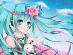 1girl aqua_eyes aqua_hair bunny cloud clouds detached_sleeves flower hatsune_miku head_wreath headphones long_hair looking_at_viewer necktie petals rabbit sky smile solo toki_(toki-master) twintails vocaloid