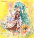 1girl ahoge apron artist_name bandaid bowl dishes flower gift green_eyes green_hair hatsune_miku long_hair looking_back marker_(medium) mayo_riyo open_mouth sink skirt solo spring_onion thigh-highs thighhighs traditional_media twintails very_long_hair vocaloid whisk