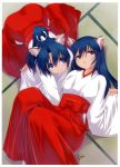 2girls absurdres animal_ears blue_eyes blue_hair from_above hakama highres japanese_clothes long_hair looking_at_viewer looking_up lying miko mitarashi_kousei multiple_girls on_back original parted_lips ponytail scan sleeves_past_wrists smile tatami tiger_ears