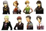 3boys 5girls adachi_tooru amagi_yukiko black_hair blonde_hair blue_eyes bob_cut brown_eyes brown_hair doujima_ryoutarou female food fruit gakuran genderswap hair_bobbles hair_ornament hanamura_yousuke hands_on_hips highres jewelry kujikawa_rise leather_jacket lips lipstick long_hair makeup male multiple_boys multiple_girls narukami_yuu necklace necktie open_clothes open_jacket persona persona_4 photoshop portrait satonaka_chie scar school_uniform serafuku short_hair silver_hair strawberry sweater_vest tatsumi_kanji topknot wink