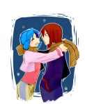 1boy 1girl ^_^ blue_hair closed_eyes couple crystal_(pokemon) eyes_closed mmm73 pokemon pokemon_(game) pokemon_gsc red_hair redhead scarf silver_(pokemon) smile twintails