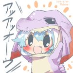>:d :d animal_costume arms_up black_eyes blue_hair blush chibi fang jaggia kamishirasawa_keine lowres monster_hunter open_mouth rebecca_(keinelove) smile solo touhou white_background
