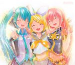 3girls :d ^_^ aqua_hair artist_name bare_shoulders blonde_hair blush closed_eyes detached_sleeves eyes_closed hair_ornament hatsune_miku headphones headset kagamine_rin long_hair mayo_riyo megurine_luka multiple_girls navel necktie open_mouth outstretched_arms pink_hair short_hair smile traditional_media twintails v very_long_hair vocaloid