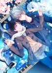 2boys black_hair blue_eyes coat grey_hair hand_holding highres holding_hands ikari_shinji instrument moon multiple_boys nagisa_kaworu neon_genesis_evangelion petals piano piano_keys red_eyes ro-a scarf smile yaoi