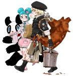 1boy 1girl blonde_hair blue_hair kazue_kato knife meal original panda