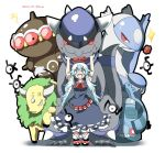 1girl alternate_color belt blue_dress blue_eyes blue_hair bow bronzong character_name claydol creature dated dress flower hat kamishirasawa_keine latios long_hair mary_janes no_nose open_mouth poke_ball pokemon rampardos rebecca_(keinelove) red_eyes rose shiny_pokemon shoes short_sleeves signature smile standing tauros touhou unown