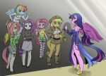 6+girls alternate_costume animal_ears applejack bare_shoulders blonde_hair blue_skin boots breasts cleavage cowboy_hat crossed_arms detached_sleeves fluttershy freckles fringe green_eyes hat horn horse_ears long_hair low-tied_long_hair midriff miniskirt multicolored_hair multiple_girls my_little_pony my_little_pony_friendship_is_magic pantyhose parody personification pink_hair pink_skin pinkie_pie purple_hair rainbow_dash rainbow_hair rarity ribbed_sweater see-through shepherd0821 side_slit skirt spaghetti_strap striped striped_legwear sweater tail tank_top thigh-highs thighhighs turtleneck twilight_sparkle two-tone_hair vietnam_veterans_memorial wall waving wings zettai_ryouiki