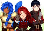 3boys armor black_hair blue_eyes blue_hair blush brown_eyes crossed_arms crossover crowe_f._almedio hair_over_shoulder hamada_kenji koriina lias_warren long_hair male multi-tied_hair multiple_boys red_hair redhead ronixis_kenni seiyuu_connection smile star_ocean star_ocean_first_departure star_ocean_the_last_hope surcoat tail tan v white_background wink