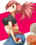 1girl arms_behind_back asuna_(pokemon) azusa_(pokemon) belt crop_top gym_leader holding holding_poke_ball irouha jeans long_hair looking_at_viewer looking_back midriff poke_ball pokemon pokemon_(game) pokemon_rse ponytail red_eyes red_hair redhead smile torkoal