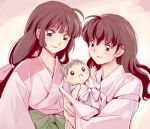2girls adult baby brown_hair higurashi_kagome holding inuyasha long_hair lowres mocha_y multiple_girls sango smile